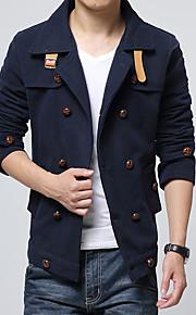 Herren Solide Einfach Lässig/Alltäglich Übergröße Jacke,Herbst Winter Gekerbtes Revers Langarm Blau Schwarz Gelb Dick Baumwolle Polyester