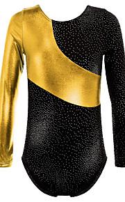 Gold Foiled Print Toddler Girls Ballet Dance Leotards Spiling Crop Tops Dancewear for 3-16 Years Girls