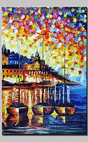 手描きの 抽象画 抽象的な風景画 油彩画,Modern 1枚 キャンバス ハング塗装油絵 For ホームデコレーション