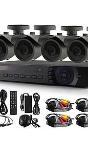 yanse® 4ch 720p 1200tvl cctv camera dvr kit ir kleuren waterdichte beveiligingscamera's systeem 1.0MP ahd-m