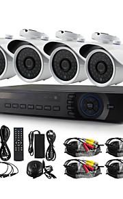 yanse® 4ch 1200tvl bedrade CCTV-camera dvr kits ir waterdichte beveiligingscamera's systeem 720p ahd-m