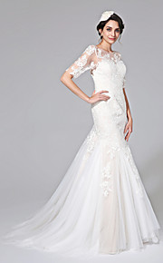 2017 Lanting Bride® Fit & Flare Wedding Dress - Chic & Modern Open Back / See-Through Wedding Dresses Court Train Jewel Lace / Tulle with
