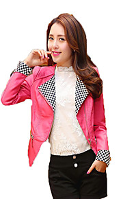 Women's Casual/Daily Street chic Leather Jackets,Solid Shirt Collar Long Sleeve Spring Blue / Pink / Black PU Medium