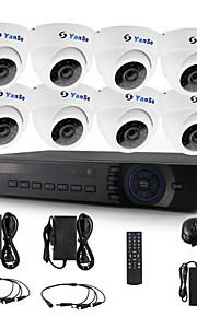 yanse® 8 stuks dome cctv camera ahd dvr kit 720p ir beveiligingssysteem 1200tvl 3.6mm 632w 1.0MP