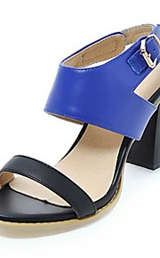 Women's Sandals Spring Summer Fall Other PU Party & Evening Dress Casual Chunky Heel Buckle Black Blue Brown Beige