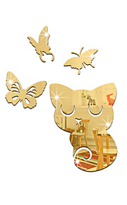 Animales Espejos De moda Pegatinas de pared Calcomanías 3D para Pared Adhesivos de Pared Espejo Calcomanías Decorativas de Pared,Vinilo