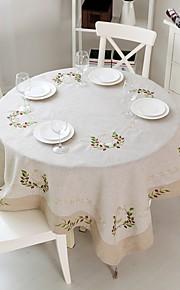 Rond Vierkant Geborduurde Tafellakens , Linnen MateriaalTabel Dceoration Bruiloften Diner Decor Favor Woondecoratie Hotel Eettafel