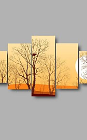 HD Print Autumn scenery Moon Painting on Canvas Wall Art 5pcs/set Home Decor(No Frame)