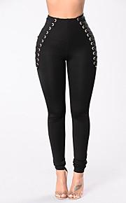Damen Skinny Chinos Hose-Ausgehen Lässig/Alltäglich Einfach Street Schick einfarbig Hohe Hüfthöhe Elastizität Polyester Micro-elastisch