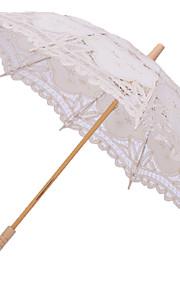 結婚式 ビーチ 日常 レース コットン 傘 ハンドル ポスト 26inch (約66cm) ウッド 30.7inch (約78cm)