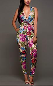 Women's Floral Print Patchwork Mesh JumpsuitsSexy / Vintage Deep V Sleeveless