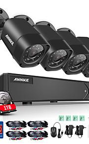 annke 4-kanaals 1080n video beveiligingssysteem met 1 TB harde schijf en (4) 1.0MP weerbestendige bullet camera's