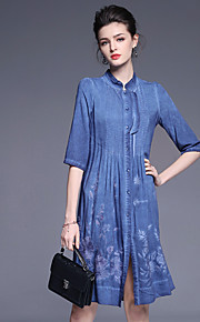 JOJO HANS Women's Going out Cute Loose DressEmbroidered Stand Above Knee  Length Sleeve Blue Red Cotton Linen Spring Summer Mid Rise Micro-elastic