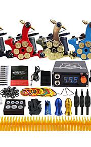 Complete Tattoo Kit 4 Pro Machine Power Supply Needle Grips Tips TK458