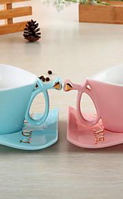 클래식 파티 드링크웨어, 150 ml 간단한 기하학적 패턴 여자 친구 선물 세라믹 차 누드 일상용 컵