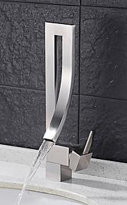 Современный По центру Водопад Функция вращения with  Керамический клапан Одной ручкой одно отверстие for  Матовый никель , Ванная