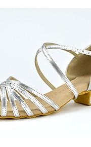 Zapatos de baile(Plata) -Latino-No Personalizables-Tacón Cuadrado
