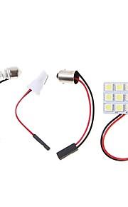 1 sæt bil førte panel lampe 4.5W 5050 9smd hvid læselampe nummerplade lampe