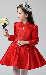 Ball Gown Short / Mini Flower Girl Dress - Organza Long Sleeve High Neck with Flower(s) Lace