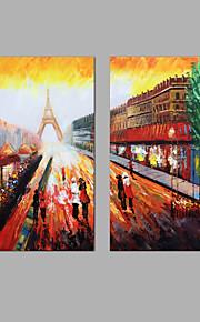 手描きの 抽象画 風景 縦長,Modern 2枚 キャンバス ハング塗装油絵 For ホームデコレーション