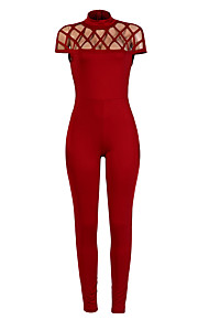 Women's Slim JumpsuitsCasual/Daily Club Sexy Slim Fashion Burn Out Simple Solid Cut Out Crew Neck Short Sleeve Mid Rise Micro-elastic Summer