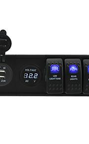 dc 12v / 24v geleid digitale 3.1a usb voltmeter stekkerdoos met schakelaar tuimelschakelaar jumper draden en huisvesting houder