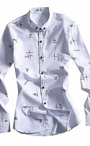 דפוס צווארון חולצה פשוטה יום יומי\קז'ואל חולצה גברים שרוול ארוך כותנה