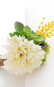 פרחי חתונה בצורה חופשיה פרחי אדמוניות פרחי דש חתונה חתונה/ אירוע סאטן