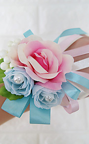 Wedding Flowers Free-form Roses Wrist Corsages Wedding Party/ Evening Blue Pink Satin Imitation Pearl