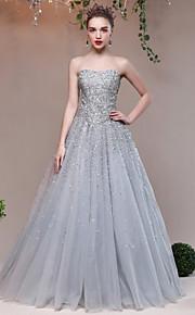 ערב רישמי שמלה נשף מחשוף לב עד הריצפה טול נצנצים עם פרטים מקריסטל נצנצים סגנון רצועות תחבושות