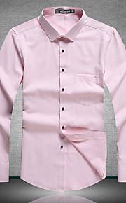 אחיד צוארון עם כפתור פשוטה יום יומי\קז'ואל חולצה גברים שרוול ארוך דק כותנה