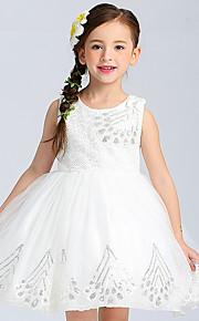 Robe de Soirée Courte / Mini Robe de Demoiselle d'Honneur Fille - Coton Satin Tulle Bijoux avec Dentelle Paillettes