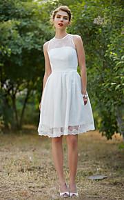 LAN TING BRIDE A-linje Bryllupskjole - Chic og moderne Små Hvite Kjoler Knelang Besmykket Blonder med Drapering Belte / bånd