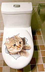 חיות אופנה מדבקות קיר מדבקות קיר תלת מימד מדבקות קיר דקורטיביות מדבקות לשירותים,ויניל חוֹמֶר קישוט הבית מדבקות קיר