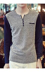 Heren Eenvoudig T-shirt,Casual/Dagelijks Patchwork V-hals Lange mouw Katoen