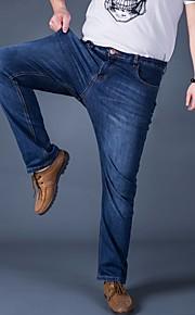 Herr Bohem Mikroelastisk Jeans Byxor,Hög midja Ledig Enfärgat