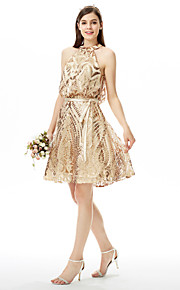 LAN TING BRIDE Knelang Besmykket Brudepikekjole - Glitrende Ermeløs Paljetter