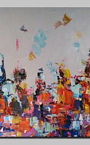 Maalattu Abstrakti Neliö,Moderni European Style 1 paneeli Kanvas Hang-Painted öljymaalaus For Kodinsisustus