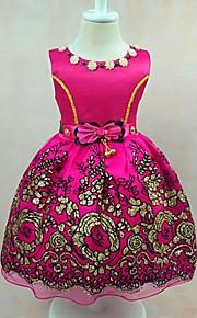 Robe de Soirée Mi-long Robe de Demoiselle d'Honneur Fille - Satin Tulle Polyester Bijoux avecNoeud(s) Broderie Fleur(s) Volants Ceinture