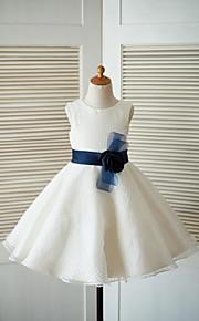 Trapèze Mi-long Robe de Demoiselle d'Honneur Fille - Tulle Bijoux avec Fleur(s) Ceinture / Ruban