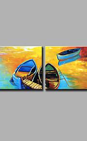 Maalattu Abstrakti Vaakasuora,Moderni 2 paneeli Kanvas Hang-Painted öljymaalaus For Kodinsisustus