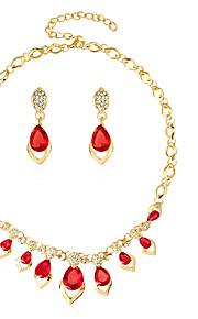 Set de Bijoux Boucles d'oreilles / Bracelet Collier / Anneau Mode euroaméricains Verre Alliage Goutte1 Paire de Boucles d'Oreille