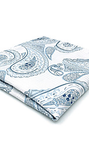 CH7 Classic Mens Pocket Square Handkerchiefs White Blue Paisley 100% Silk New Jacquard Woven Handmade