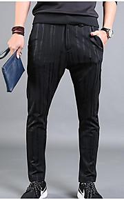 Heren Eenvoudig Medium taille Recht Slank Micro-elastisch Chinos (zwaar katoen) BroekEffen Gestreept