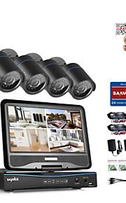Sannce® 4ch 4pcs 720p lcd dvr weatherproof sikkerhedssystem understøttet analog ahd tvi ip kamera uden hdd