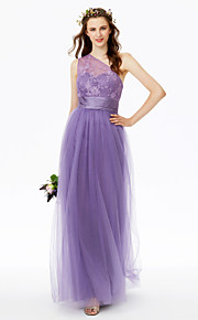 Sheath / Column One Shoulder Floor Length Lace Tulle Bridesmaid Dress with Lace Sash / Ribbon Ruching Pleats by LAN TING BRIDE®