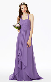 Sheath / Column Halter Sweep / Brush Train Chiffon Bridesmaid Dress with Sash / Ribbon Criss Cross Ruching Pleats by LAN TING BRIDE®
