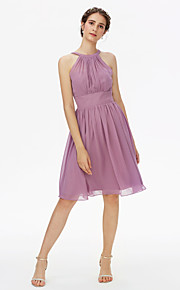 A-Line Jewel Neck Knee Length Chiffon Bridesmaid Dress with Sash / Ribbon Pleats by LAN TING BRIDE®