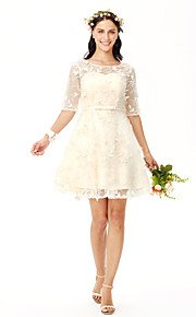 A-Line Jewel Neck Short / Mini Lace Bridesmaid Dress with Bow(s) Flower(s) Sash / Ribbon by Yaying