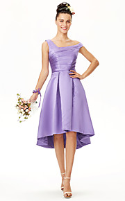 A-Line Straps Asymmetrical Satin Bridesmaid Dress with Ruching Pleats by LAN TING BRIDE®